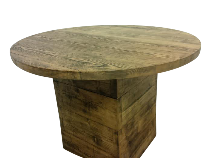 the rustic round dining table