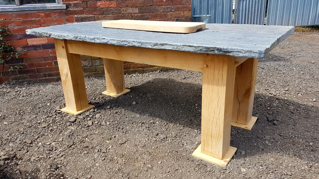 Oak And Slate Dining Table ⋆ Ely Rustic Furniture
